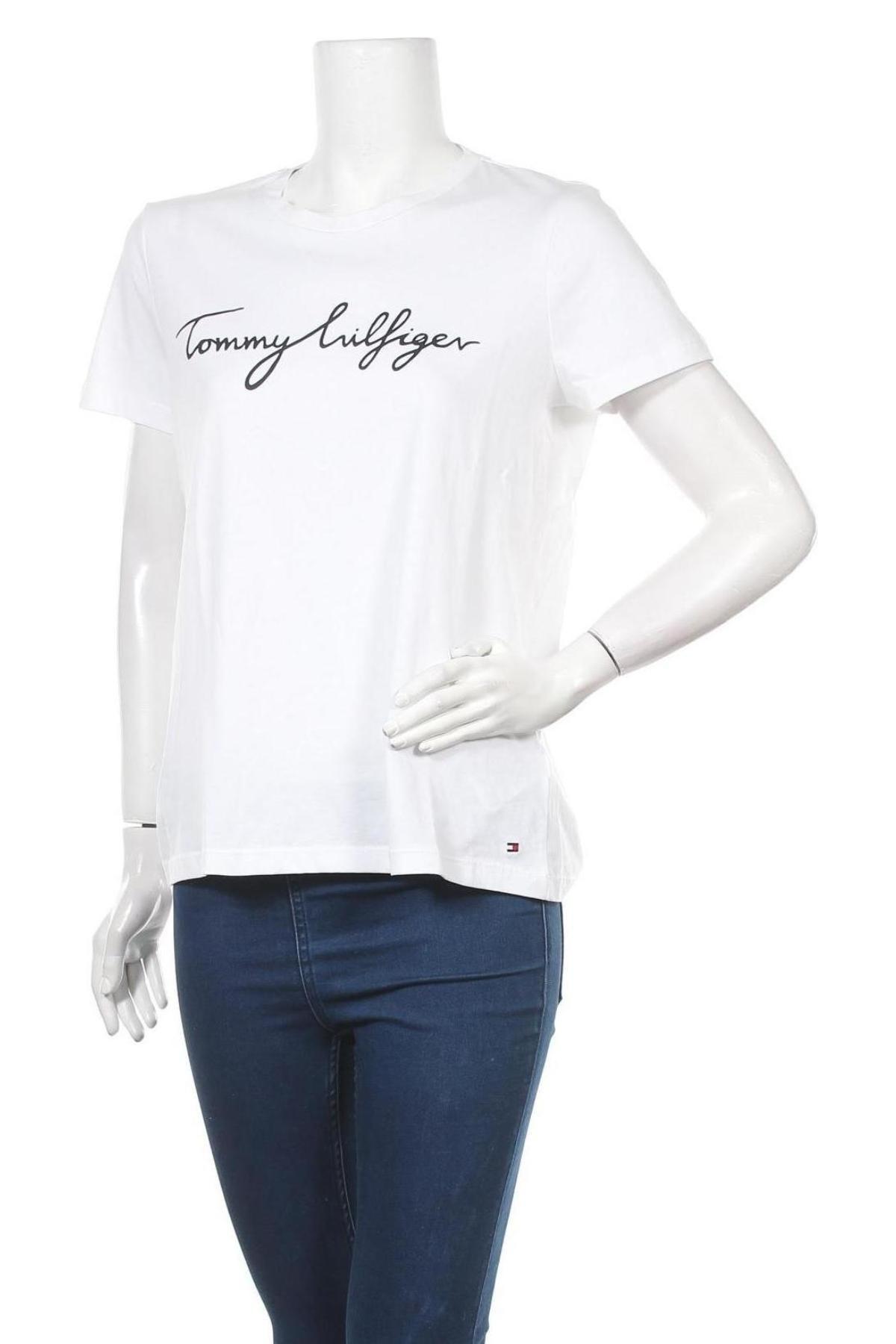 Дамска тениска Tommy Hilfiger, Размер L, Цвят Бял, Памук, Цена 57,00лв.