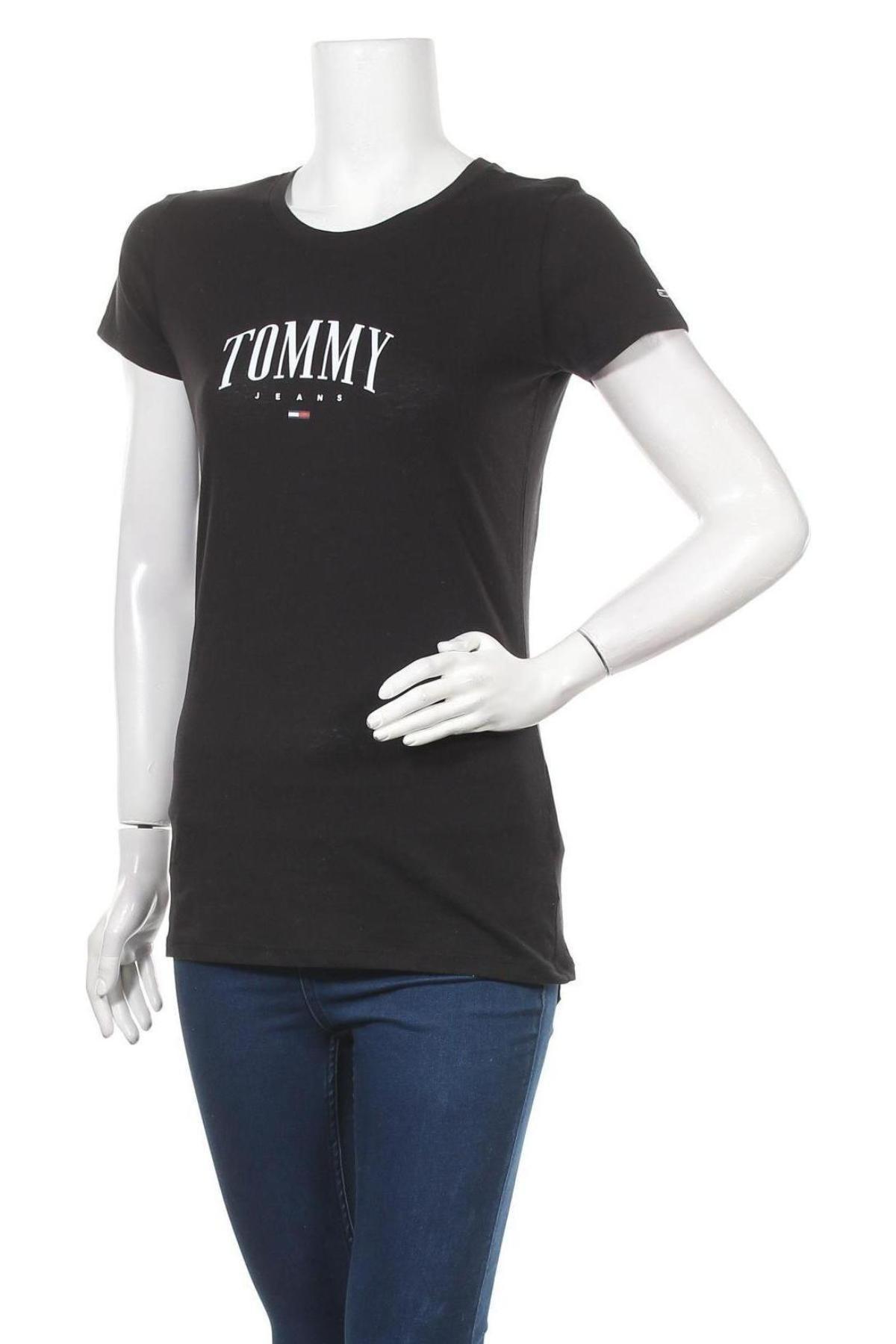 Дамска тениска Tommy Hilfiger, Размер M, Цвят Черен, 60% памук, 40% полиестер, Цена 60,80лв.