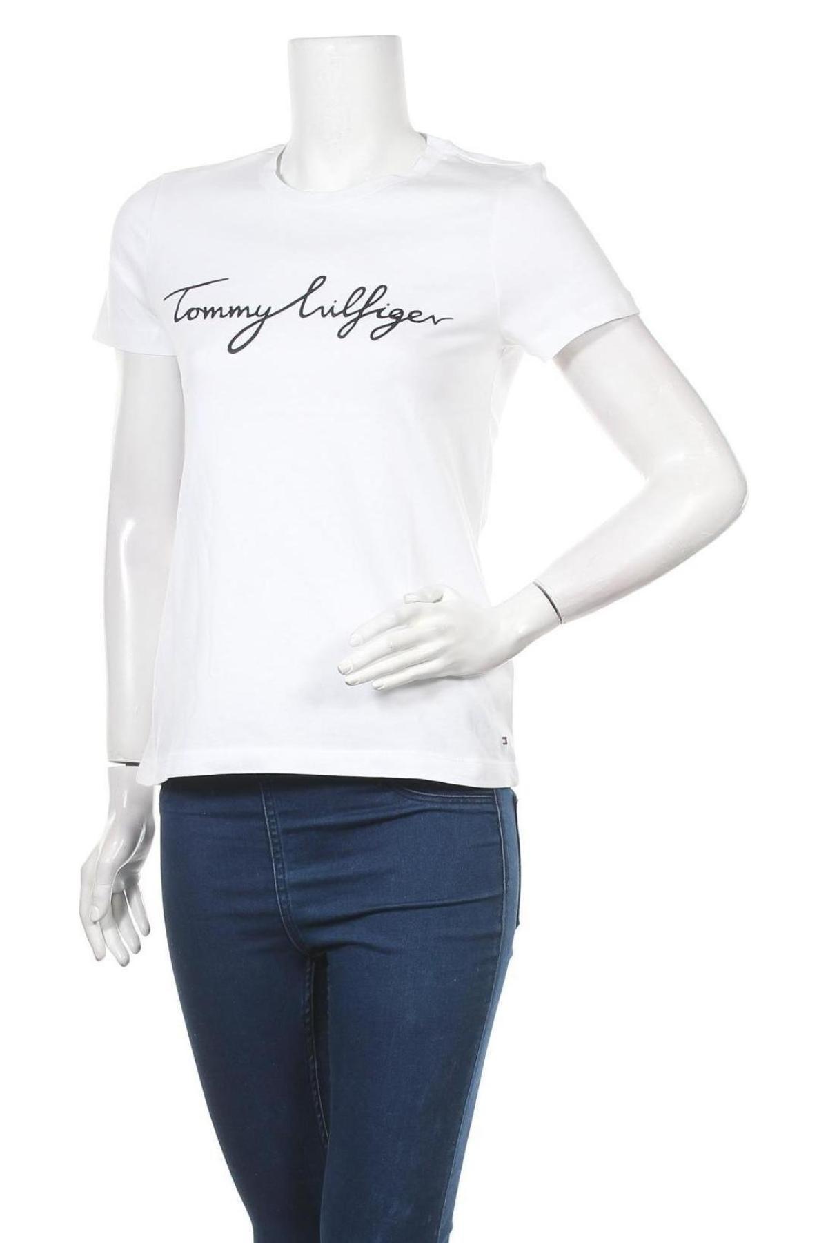 Дамска тениска Tommy Hilfiger, Размер XS, Цвят Бял, Памук, Цена 57,00лв.