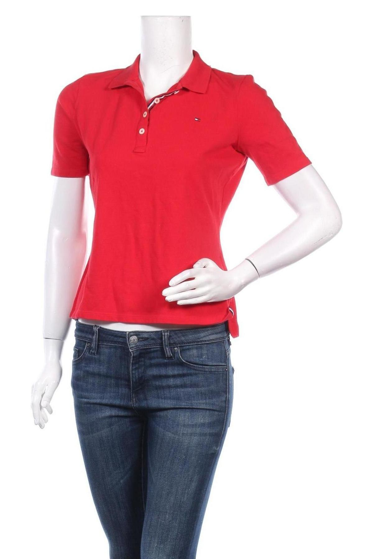 Дамска тениска Tommy Hilfiger, Размер S, Цвят Червен, 96% памук, 4% еластан, Цена 79,00лв.