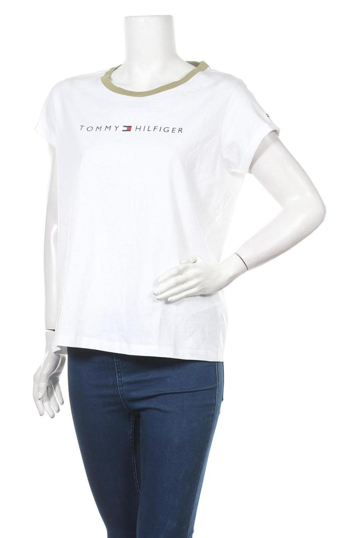 Дамска тениска Tommy Hilfiger, Размер L, Цвят Бял, Памук, Цена 59,25лв.