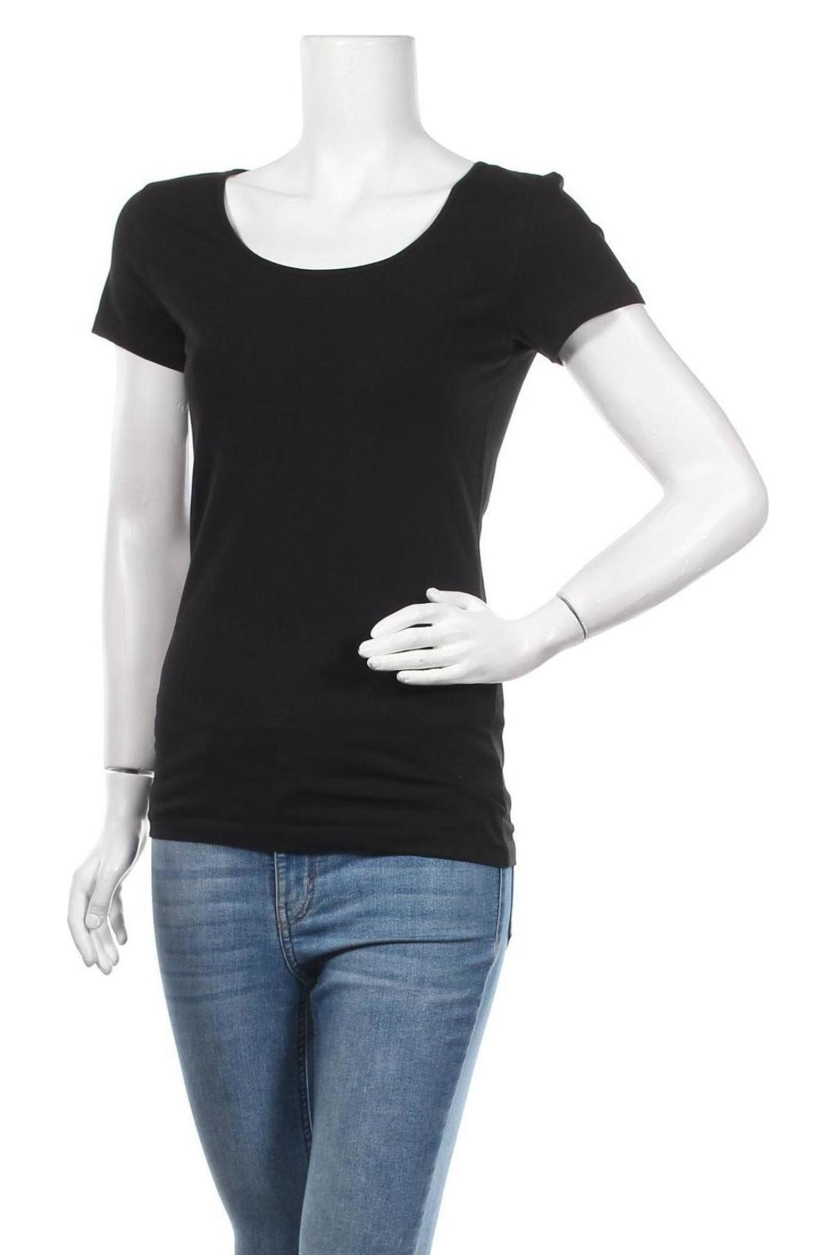Дамска тениска Vero Moda, Размер M, Цвят Черен, 95% памук, 5% еластан, Цена 21,17лв.