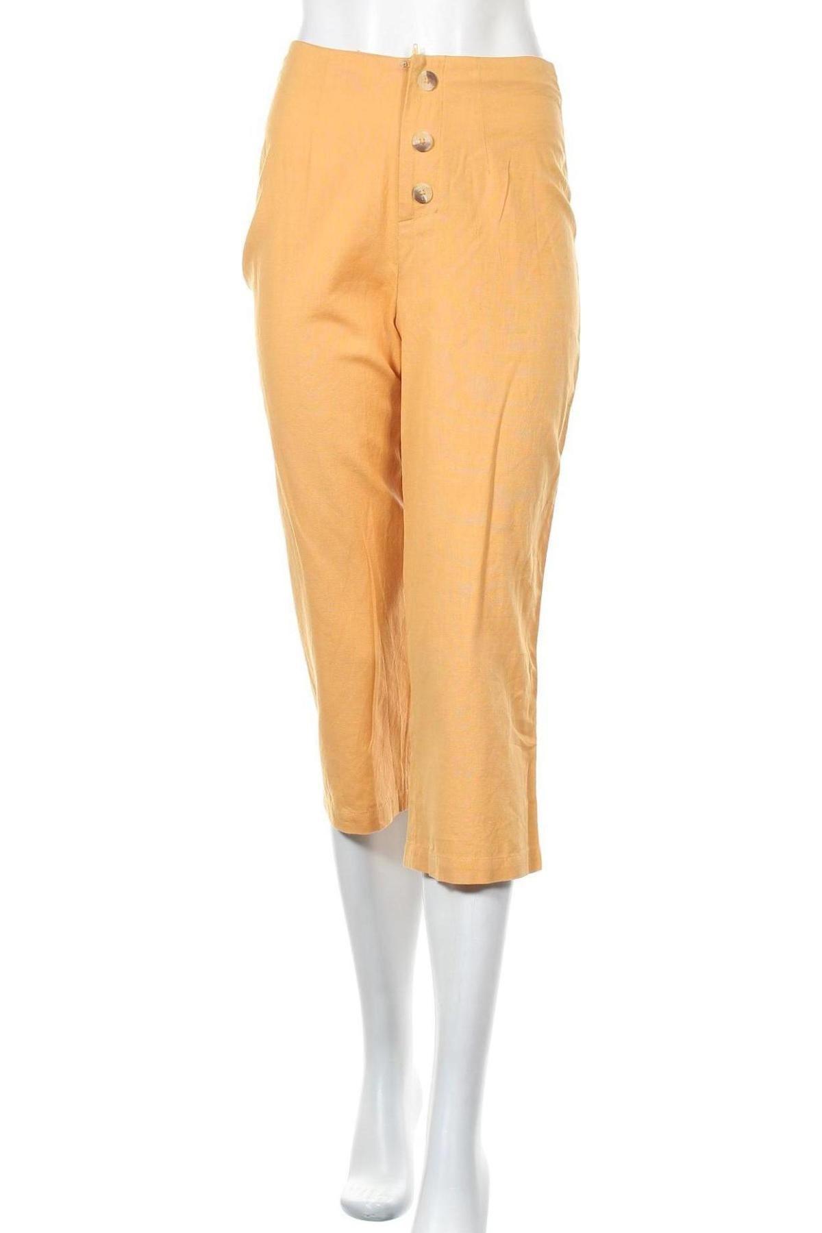 Дамски панталон About You, Размер XS, Цвят Жълт, 85% памук, 15% лен, Цена 25,60лв.
