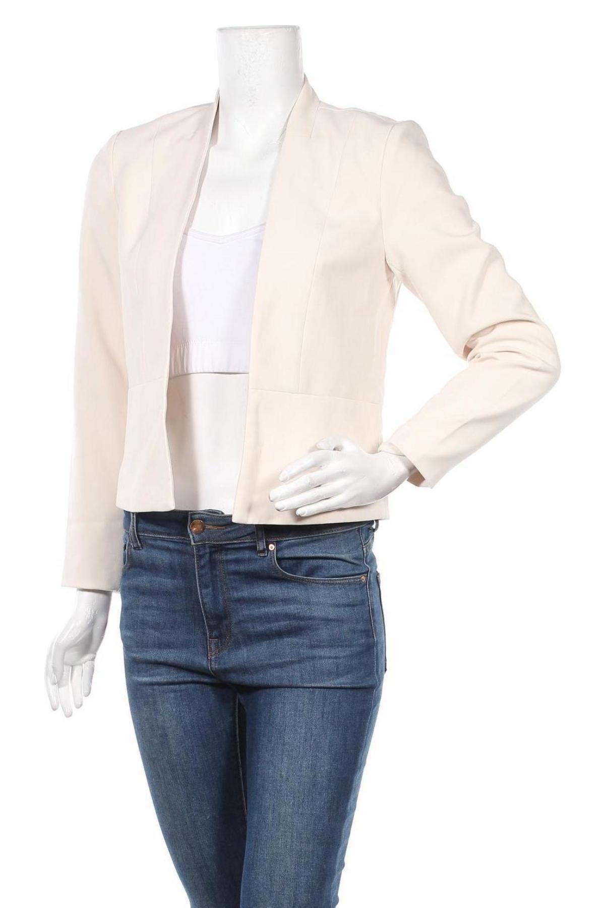 Дамско сако ONLY, Размер S, Цвят Екрю, 73% полиестер, 23% вискоза, 4% еластан, Цена 22,42лв.