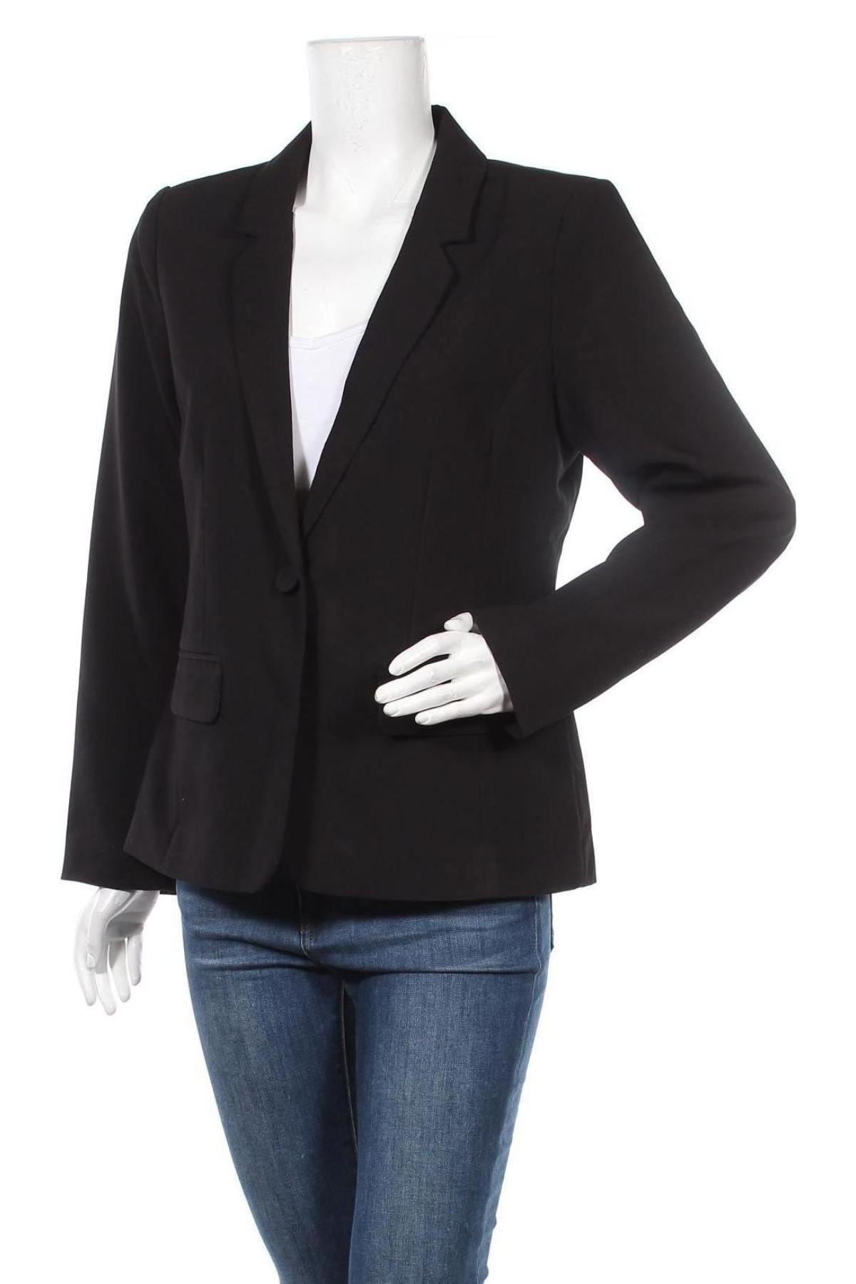 Дамско сако ONLY, Размер L, Цвят Черен, 72% полиестер, 23% вискоза, 5% еластан, Цена 25,08лв.