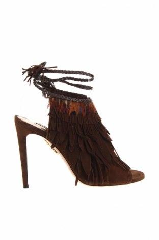 Sandále Aquazzura Firenze, Veľkosť 37, Farba Hnedá, Prírodný velur , Cena  166,11€