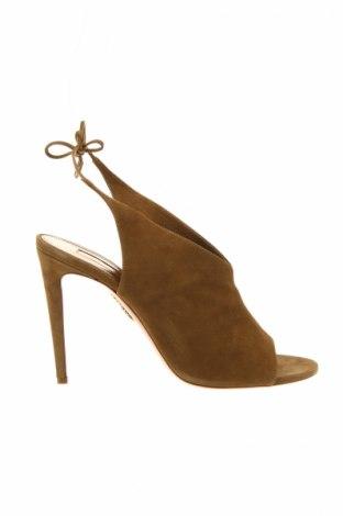 Sandále Aquazzura Firenze, Veľkosť 41, Farba Zelená, Prírodný velur , Cena  123,84€