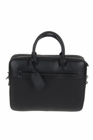 Чанта за документи Azzaro, Цвят Черен, Текстил, естествена кожа, Цена 194,25лв.