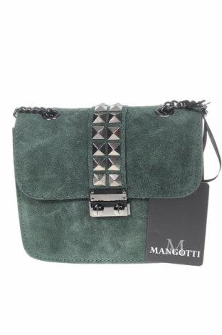 Дамска чанта Mangotti, Цвят Зелен, Естествен велур, Цена 129,15лв.