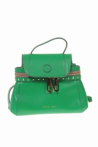 Дамска чанта TWINSET, Цвят Зелен, Естествена кожа, Цена 171,75лв.