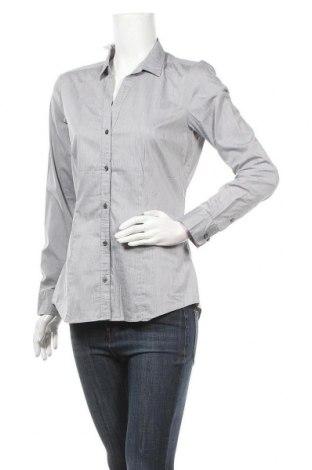 Дамска риза H&M, Размер L, Цвят Сив, 67% памук, 30% полиамид, 3% еластан, Цена 13,23лв.