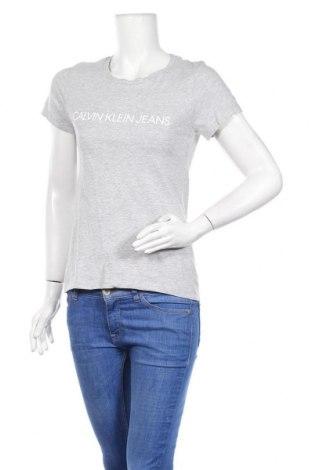 Дамска тениска Calvin Klein Jeans, Размер M, Цвят Сив, Памук, Цена 55,20лв.