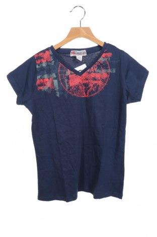 Дамска тениска Geographical Norway, Размер S, Цвят Син, Памук, Цена 26,22лв.