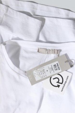 Дамска тениска Pieces, Размер M, Цвят Бял, Памук, Цена 21,84лв.
