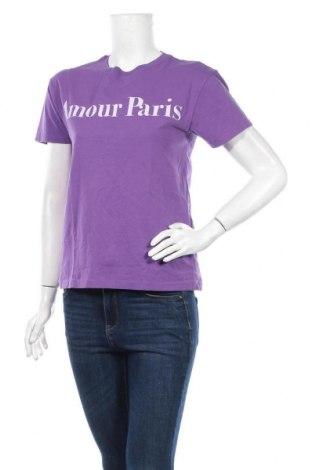 Дамска тениска Pull&Bear, Размер XS, Цвят Лилав, Памук, Цена 24,07лв.