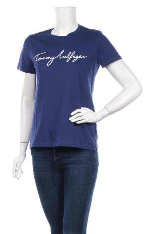 Дамска тениска Tommy Hilfiger, Размер S, Цвят Син, Памук, Цена 59,28лв.