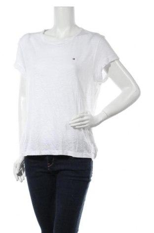 Дамска тениска Tommy Hilfiger, Размер M, Цвят Бял, 60% лиосел, 40% лен, Цена 61,62лв.