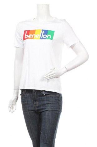 Дамска тениска United Colors Of Benetton, Размер S, Цвят Бял, 50% памук, 50% модал, Цена 22,95лв.