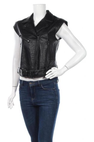 Дамски кожен елек H&M Divided, Размер M, Цвят Черен, Еко кожа, Цена 22,05лв.