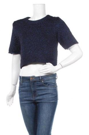 Γυναικείο πουλόβερ H&M, Μέγεθος XS, Χρώμα Μπλέ, 44% βαμβάκι, 36% πολυεστέρας, 20% μεταλλικά νήματα, Τιμή 3,43€