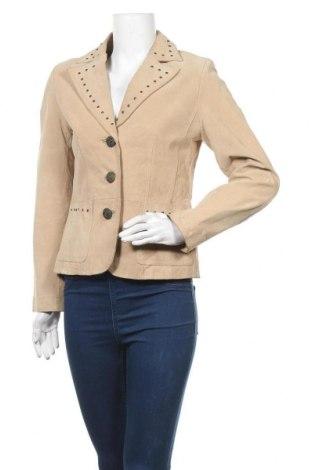Γυναικείο δερμάτινο σακάκι, Μέγεθος S, Χρώμα  Μπέζ, Φυσικό σουέτ, Τιμή 16,37€