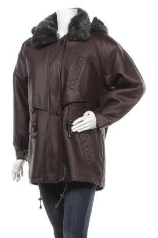Дамско кожено яке, Размер XL, Цвят Кафяв, Еко кожа, Цена 22,05лв.