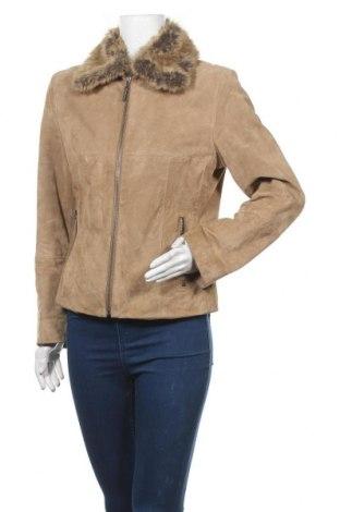 Дамско кожено яке, Размер M, Цвят Бежов, Естествен велур, Цена 14,65лв.