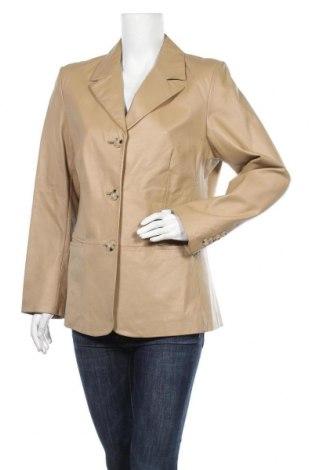 Дамско кожено яке, Размер L, Цвят Бежов, Естествена кожа, Цена 62,37лв.
