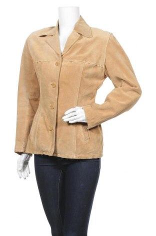 Дамско кожено яке, Размер L, Цвят Бежов, Естествен велур, Цена 21,53лв.
