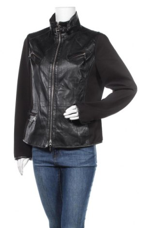 Дамско кожено яке Biba, Размер L, Цвят Черен, Естествена кожа, полиестер, Цена 67,83лв.