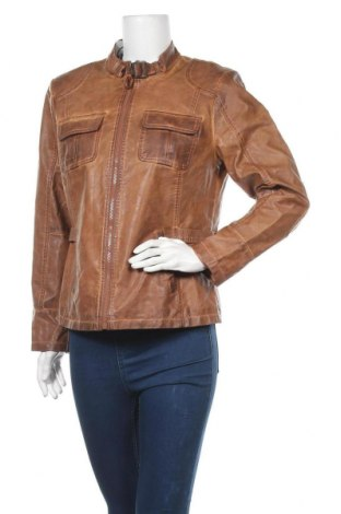 Дамско кожено яке C&A, Размер L, Цвят Кафяв, Еко кожа, Цена 31,43лв.