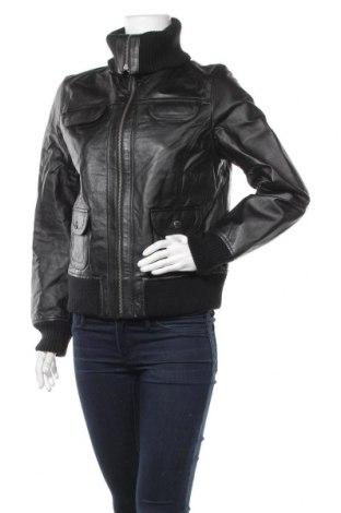 Дамско кожено яке East Village, Размер M, Цвят Черен, Естествена кожа, Цена 40,43лв.