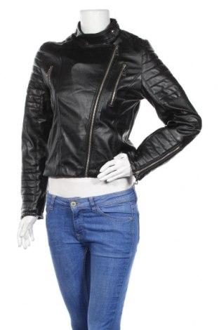 Дамско кожено яке Gts, Размер M, Цвят Черен, Еко кожа, Цена 27,72лв.