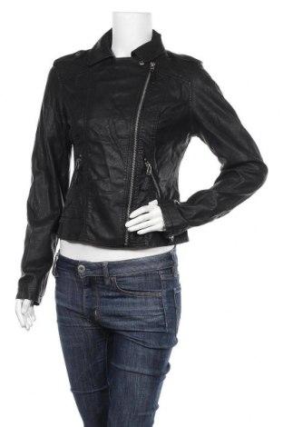 Дамско кожено яке Laura Torelli, Размер S, Цвят Черен, Еко кожа, Цена 21,37лв.
