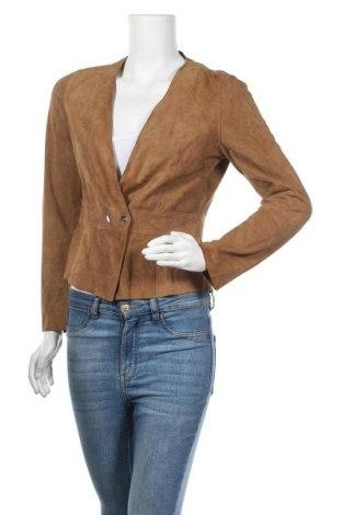 Дамско кожено яке Mango, Размер M, Цвят Бежов, Естествен велур, Цена 20,74лв.