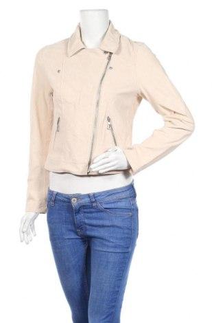 Дамско кожено яке ONLY, Размер M, Цвят Бежов, Естествен велур, Цена 44,52лв.