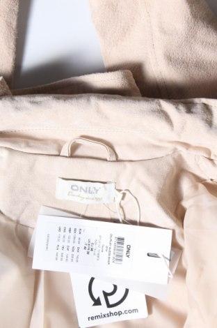 Дамско кожено яке ONLY, Размер S, Цвят Бежов, Естествен велур, Цена 44,52лв.