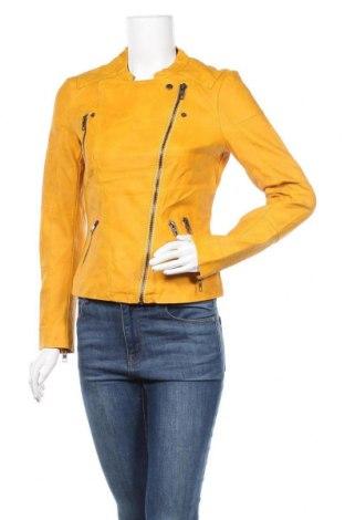 Дамско кожено яке ONLY, Размер S, Цвят Жълт, Еко кожа, Цена 51,03лв.