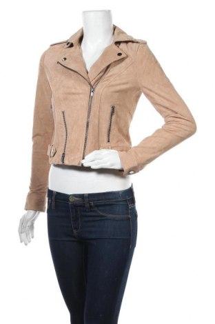 Дамско кожено яке Vero Moda, Размер XS, Цвят Бежов, Естествен велур, Цена 141,75лв.