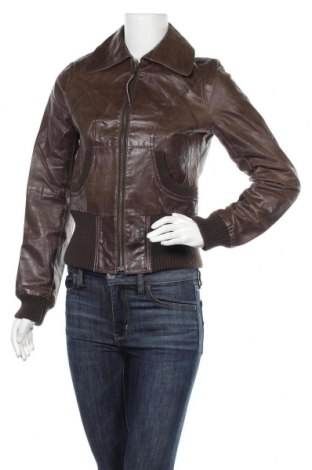 Дамско кожено яке Vero Moda, Размер S, Цвят Кафяв, Естествена кожа, Цена 47,88лв.
