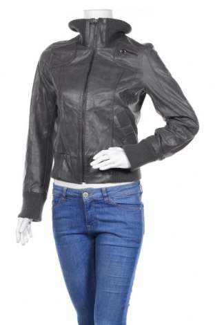 Дамско кожено яке Vero Moda, Размер S, Цвят Сив, Естествена кожа, Цена 20,48лв.