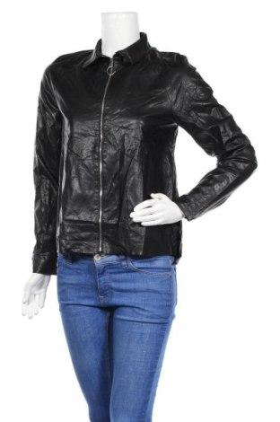 Дамско кожено яке Zara, Размер S, Цвят Черен, Еко кожа, Цена 59,85лв.