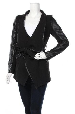 Дамско палто K.zell, Размер L, Цвят Черен, Полиестер, вискоза, еластан, еко кожа, Цена 24,68лв.