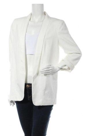 Дамско сако Pieces, Размер L, Цвят Бял, 79% полиестер, 16% вискоза, 5% еластан, Цена 25,20лв.
