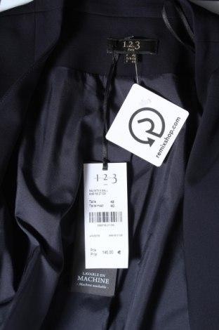 Дамско сако Un Deux Trois, Размер M, Цвят Син, 88% полиестер, 12% еластан, Цена 71,82лв.