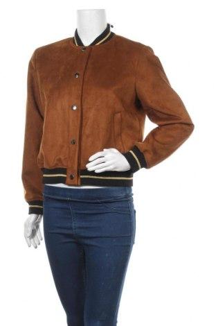 Дамско яке Zara, Размер S, Цвят Кафяв, 97% полиестер, 2% еластан, 1% метални нишки, Цена 24,57лв.