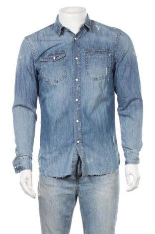 Мъжка риза Pull&Bear, Размер M, Цвят Син, Памук, Цена 21,56лв.