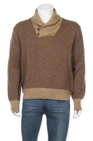 Мъжки пуловер H&M L.O.G.G., Размер M, Цвят Кафяв, 77% вълна, 23% полиамид, Цена 10,92лв.