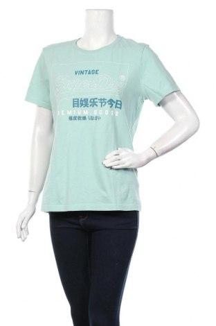 Дамска тениска Superdry, Размер L, Цвят Зелен, Памук, Цена 53,82лв.