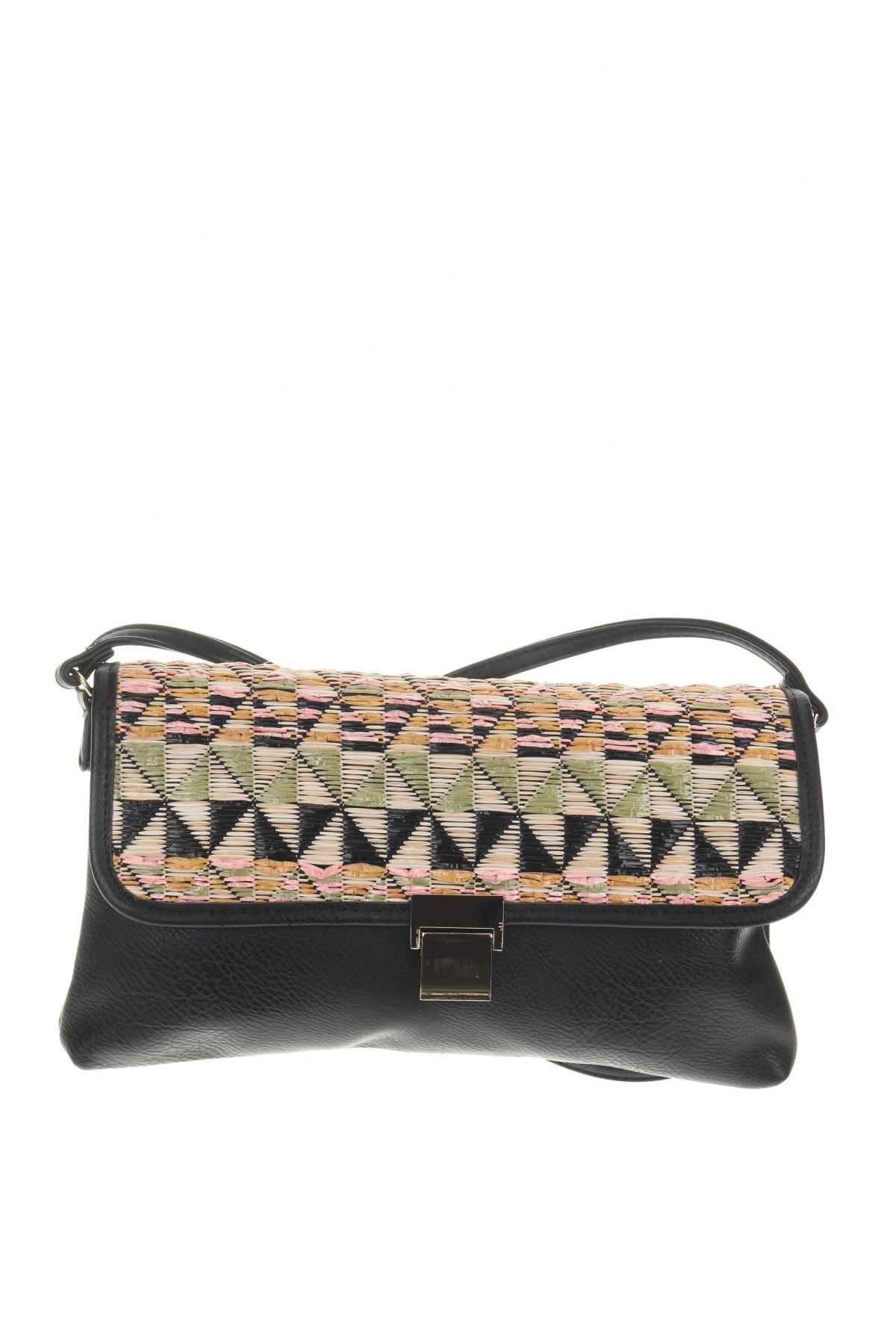 Дамска чанта Camaieu, Цвят Черен, Еко кожа, текстил, Цена 26,22лв.